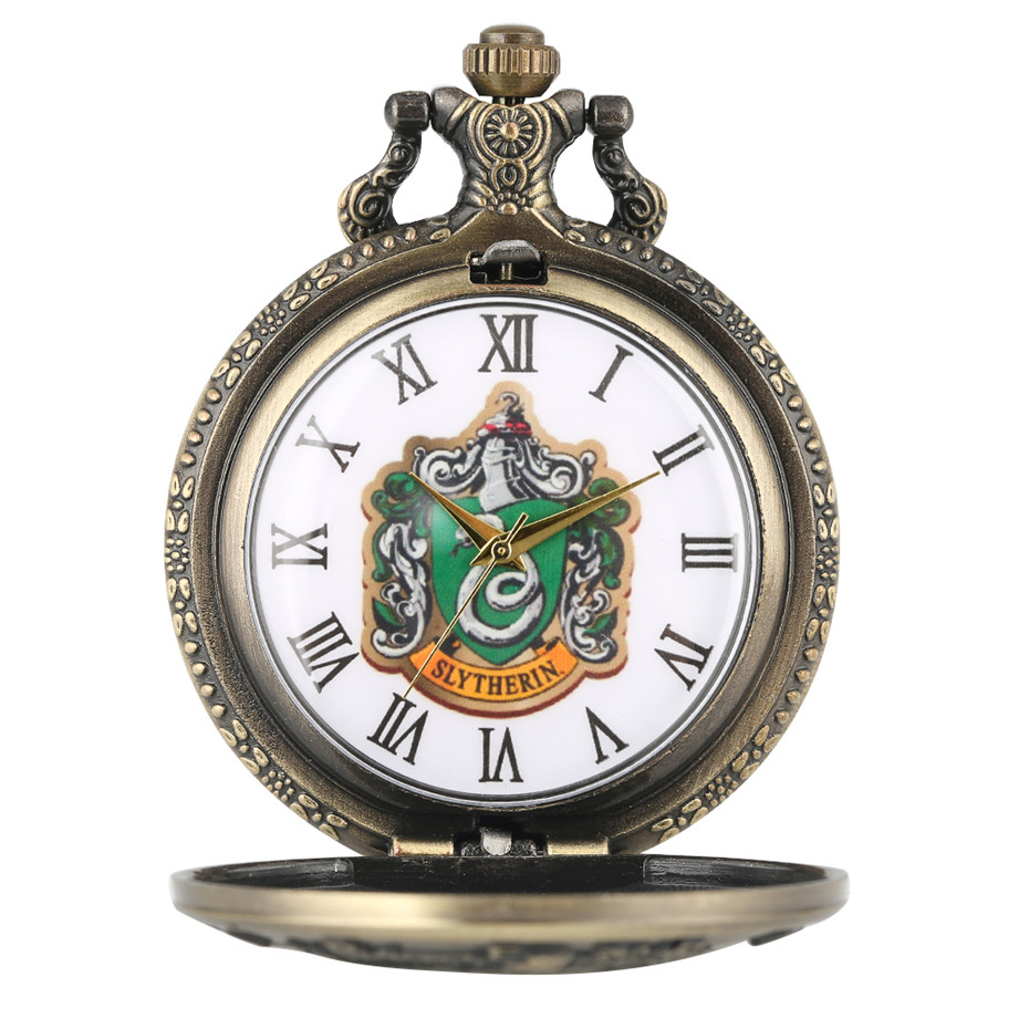 Bronze Slytherin Theme Magic School Quartz Pocket Watch Roman Numerals Display Pendant Necklace Clock Gifts Men Women Kids
