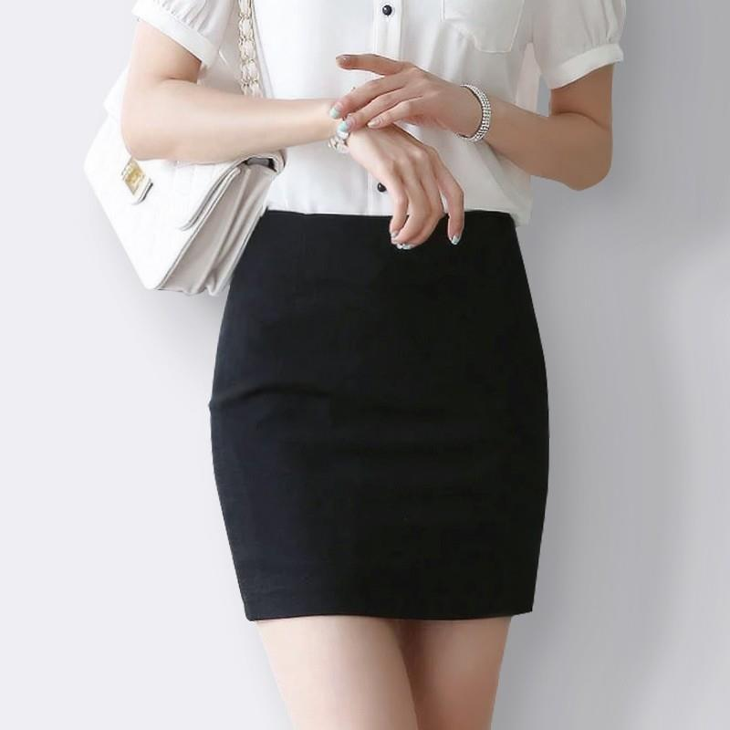 Business Skirt Short Skirt Anti-Exposure Summer Thin Section Suit Skirt Work Skirt Black And White With Pattern Slim Fit Sheath