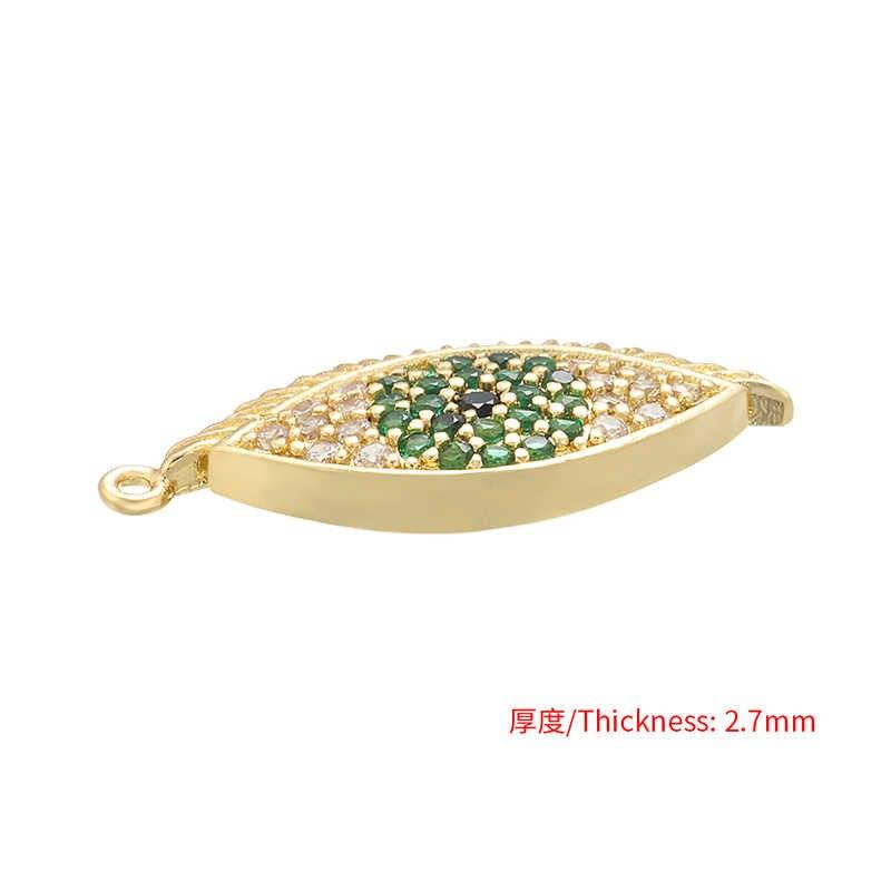 ZHUKOU 12x23mm פליז מעוקב Zirconia ירוק קריסטל ארוך ריסים עיניים תליון שרשרת עגיל תכשיטי אביזרי ביצוע VD522
