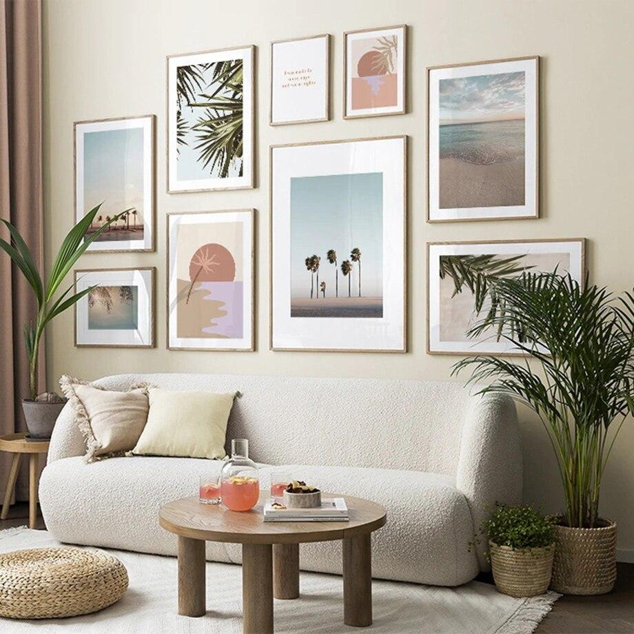 Abstracto sol palmeira mar folhas citações arte da parede pintura em tela nordic posters e cópias fotos de parede para sala estar decoração
