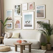 Soyut güneş palmiye ağacı Sea yaprakları tırnak duvar sanatı tuval yağlıboya İskandinav posterler ve baskılar duvar resimleri için oturma odası dekor