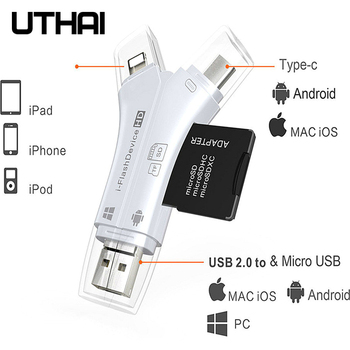UTHAI C11 Lightning Card Reader SD TF USB C to MicroUSB Multi Card readers 4in1 Type-C Flash Drive For Iphone 7 8 11 X XR MAX