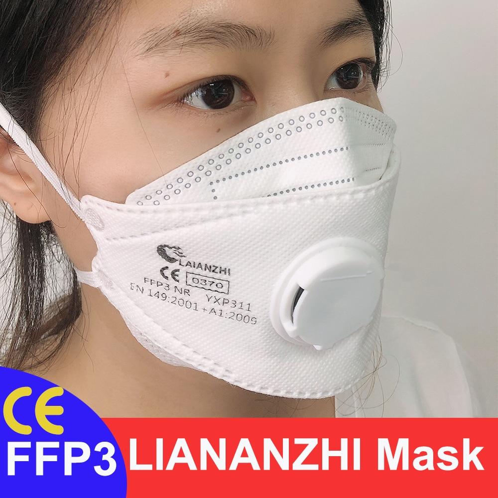 Laianzhi ce ffp3 rosto máscaras para proteção contra vírus anti poeira bandana headwear rosto máscara boca antivírus válvula respirador ffp3mask