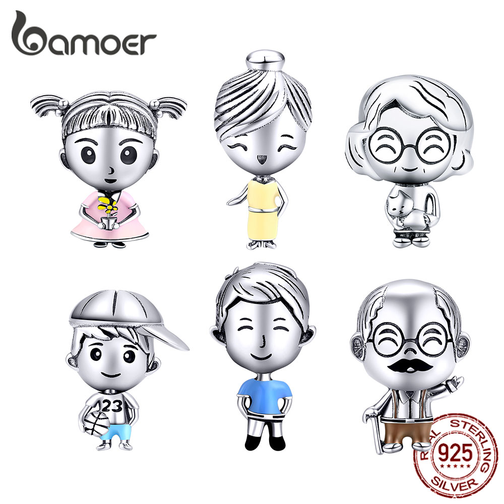 Bamoer 6 Styles Family Collection Metal Beads 925 Sterling Silver Charm Fit Original Bracelet Fashion DIY Jewelry BSC177