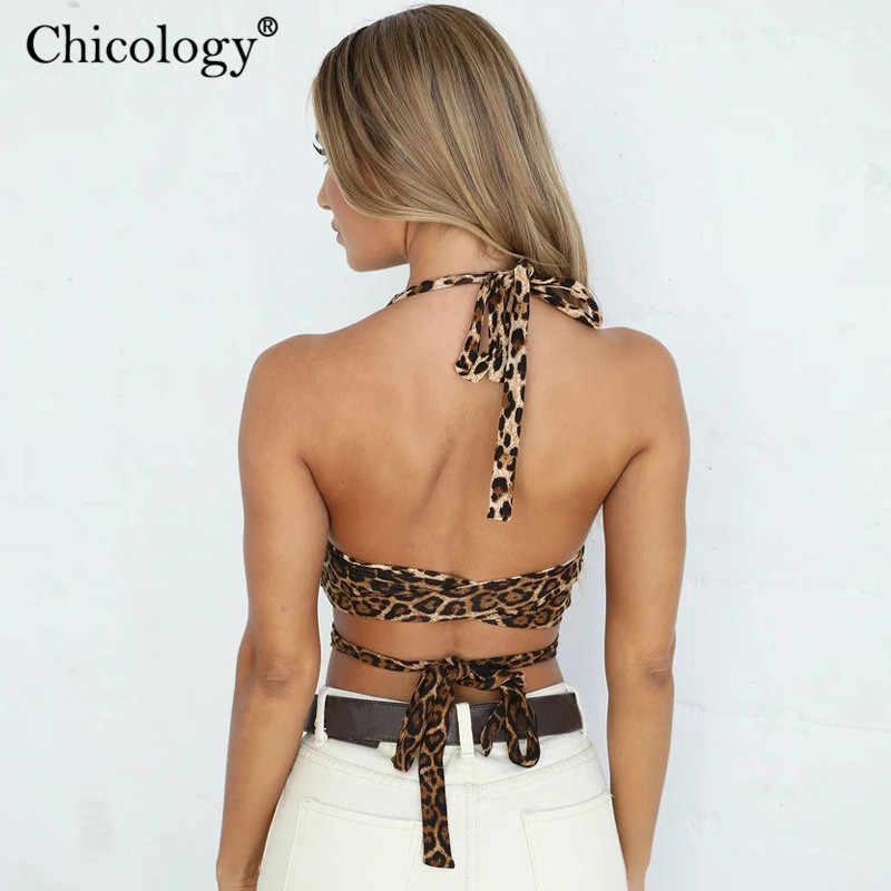 Chicologie licou léopard boléro à lacets large sangle sexy femmes 2019 été automne femme fête streetwear vêtements courts
