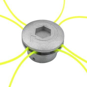 Universal de aluminio hierba cabezal de corte con 4 líneas cabeza cortadora de cepillo de césped de Nylon línea de corte de cabeza para césped de plata