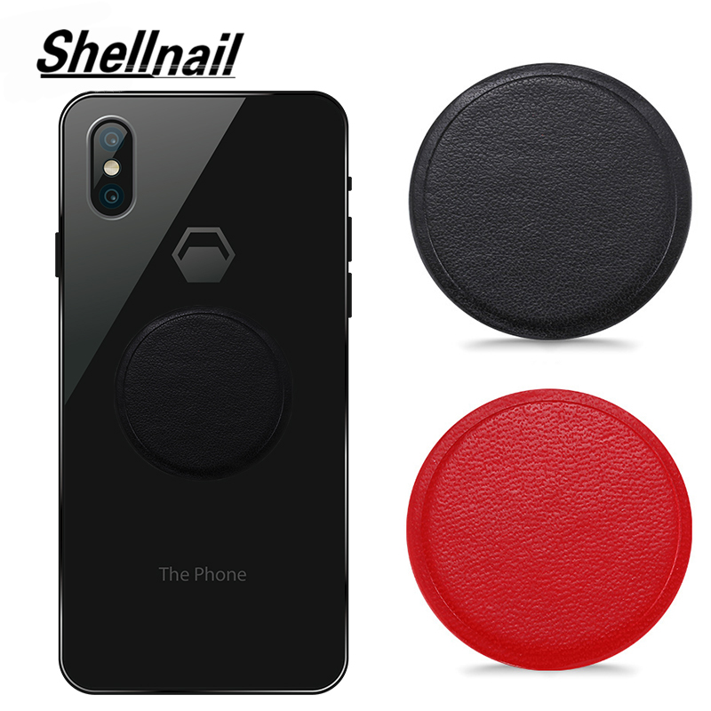 SHELLNAIL PU Leather Metal Plate For Magnetic Car Phone Holder Magnet Phone Stand GPS Holder Accessory