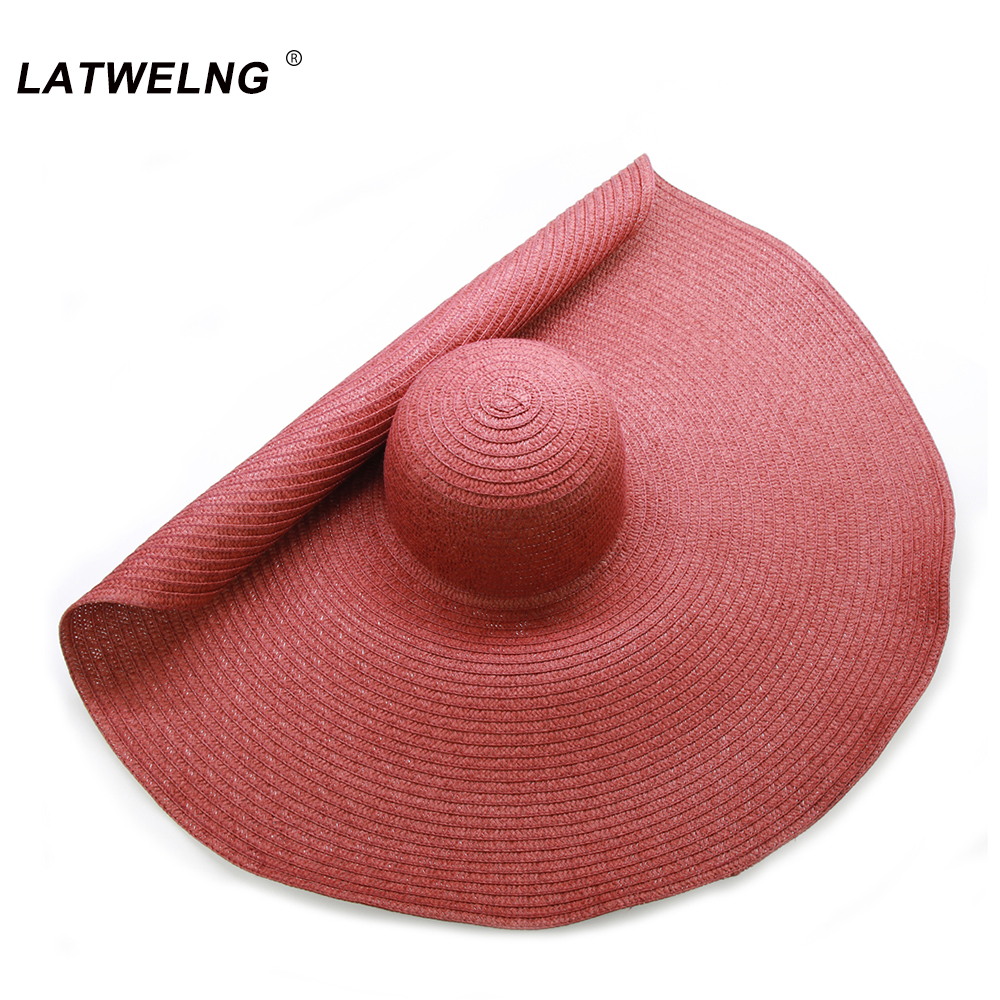 Foldable Women Oversized Hat 70cm Large Brim Summer Sun Beach Hats Wholesale