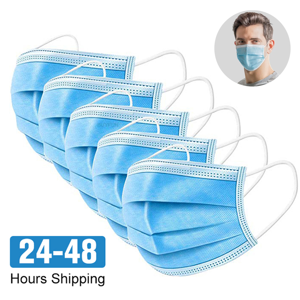 100pcs Face Mouth Mask Disposable Protect 3 Layers Filter Dustproof Earloop Non Woven Mouth Protective Masks For Dropshipping