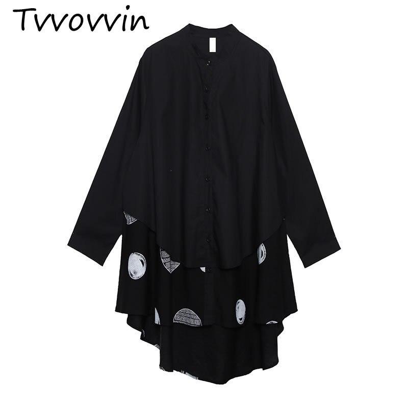 TVVOVVIN irrégulière Patchwork point noir Blouse femmes vêtements 2019 mode col montant Match tous les bouton de chemise automne nouveau D244
