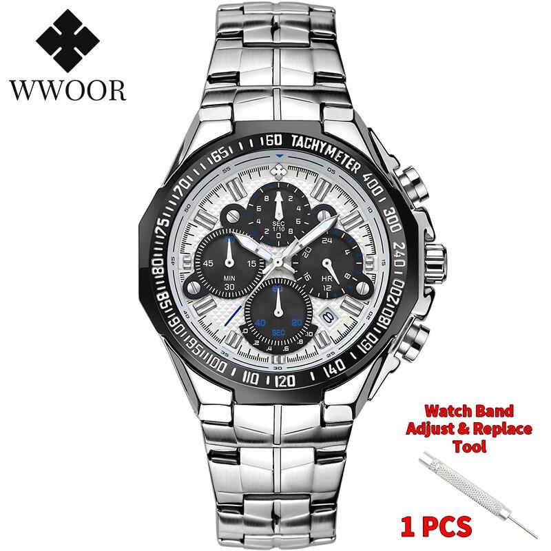WWOOR 2020 New Men Watches Top Brand Luxury Gold Stainless Steel Quartz Watch Men Waterproof Sport Chronograph Relogio Masculino 2