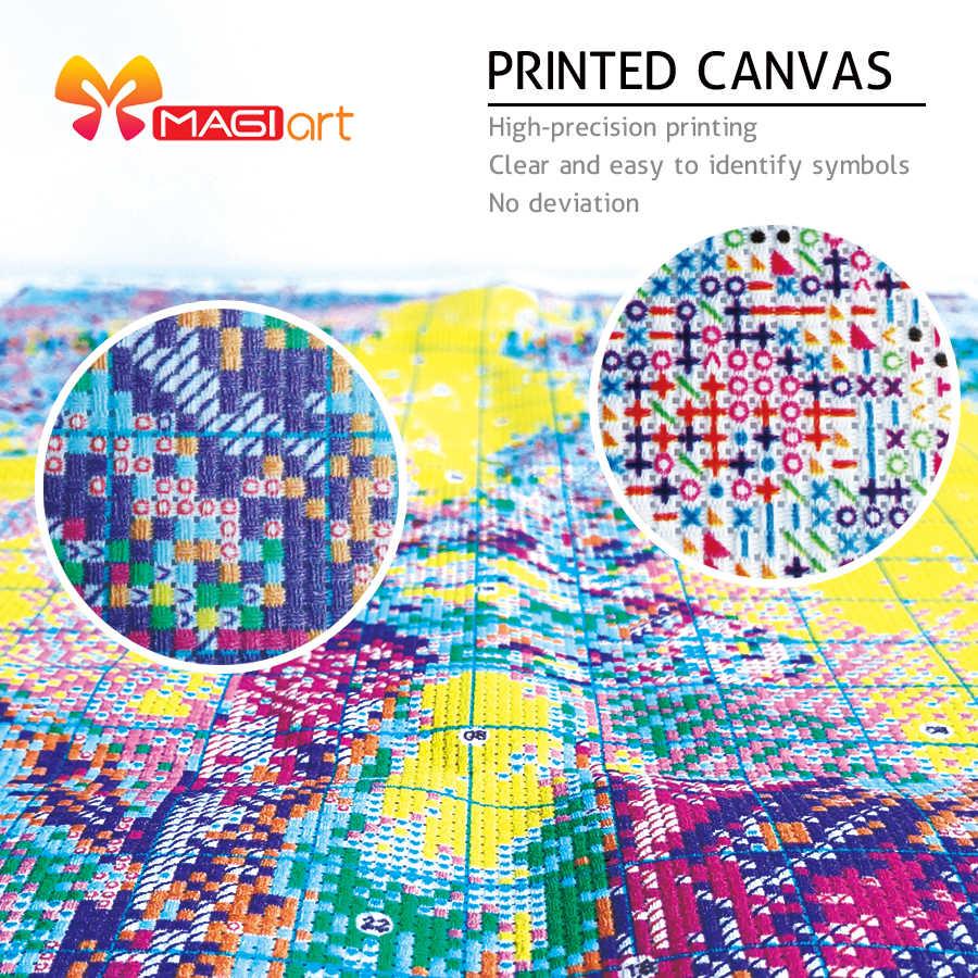 Kruissteek Kits Borduren Handwerken Sets 11CT Water Oplosbare Canvas Patronen 14CT Bloemen Schilderen Abstract Grass-NCMF006