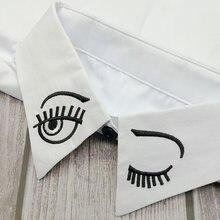 Demi-chemise brodée avec sourire pour femmes, Faux Col, chemise détachable, chemise à revers, décoration, gilet