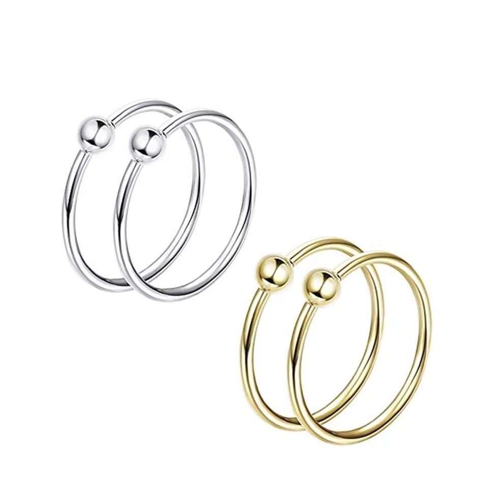 1 Pair 925 Sterling Silver Nose Rings Studs Piercings Round Lip Hoop Ring Ear Bone Sexy Body Jewelry Trendy Wholesale New