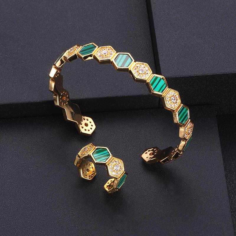 Luxury ที่ไม่ซ้ำกันแอฟริกันแหวนกำไลชุดเครื่องประดับชุดผู้หญิงงานแต่งงาน Cubic Zircon คริสตัล CZ ดูไบเครื่องประดับชุดเจ้าสาว
