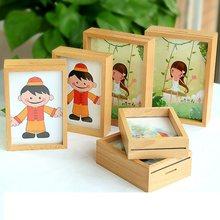 Crianças de madeira maciça moldura para fotos on-line decoração de casa arte de madeira mini quadros de fotos do casamento do vintage diy moldura da família decoração de casa