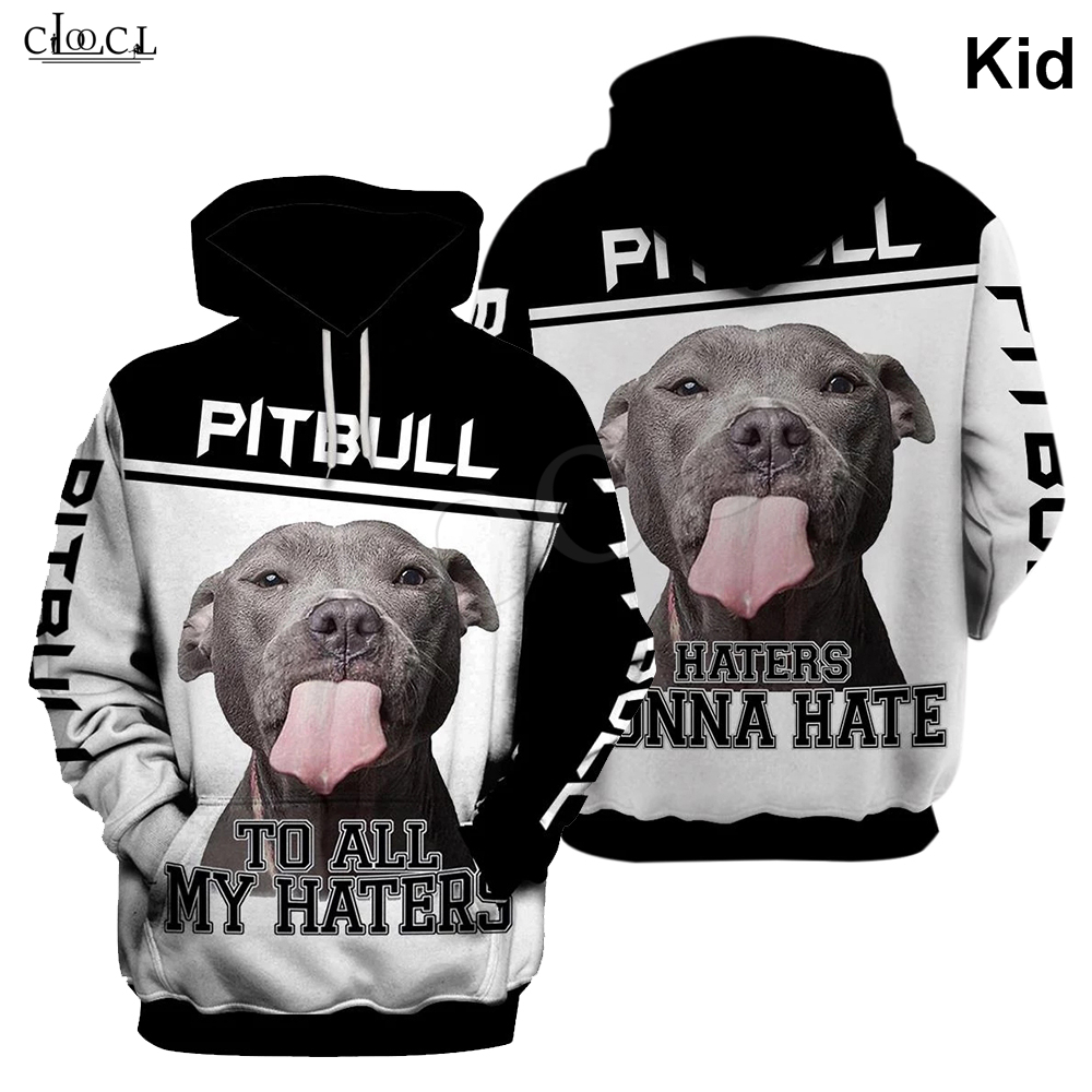 4 To 13 Years Kids T Shirt Animal Pitbull To Haters 3D Print Hoodie Boys Girls Sweatshirt Teens Design Tops Drop Shipping
