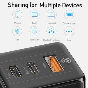 Image 4 - Chargeur rapide Baseus 65W GaN Type C PD Charge rapide 4.0 QC3.0 prise ue US 3 Ports USB chargeur Portable pour iPhone 12 Huawei Xiaomi