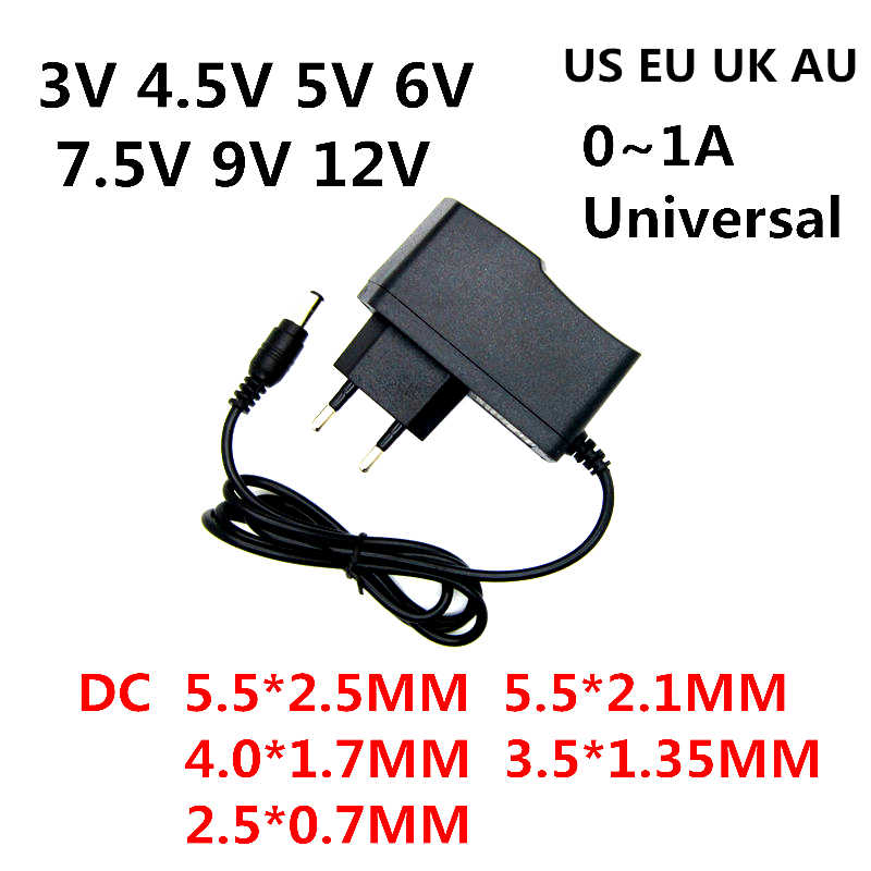AC 110-240V DC 3V 4.5V 5V 6V 7.5V 9V 12 V untuk 0.5A 1A Lampu LED Strip Universa Adaptor 12 V Volt AC/DC Converter Power Supply