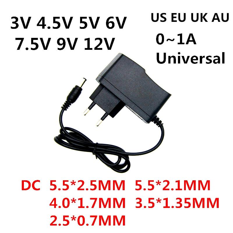 Ac 110-240 v dc 3 v 4.5 v 5 v 6 v 7.5 v 9 v 12 v para 0.5a 1a led luz strip universa adaptador 12 v volt ac/dc conversor fonte de alimentação