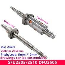 SFU RM2505 шариковый винт SFU2505 200-2550 мм 25 мм шариковый винт C7 с 2505 2510 фланцем Одиночная/двойная гайка BK/BF20 конец обработан для ЧПУ частей