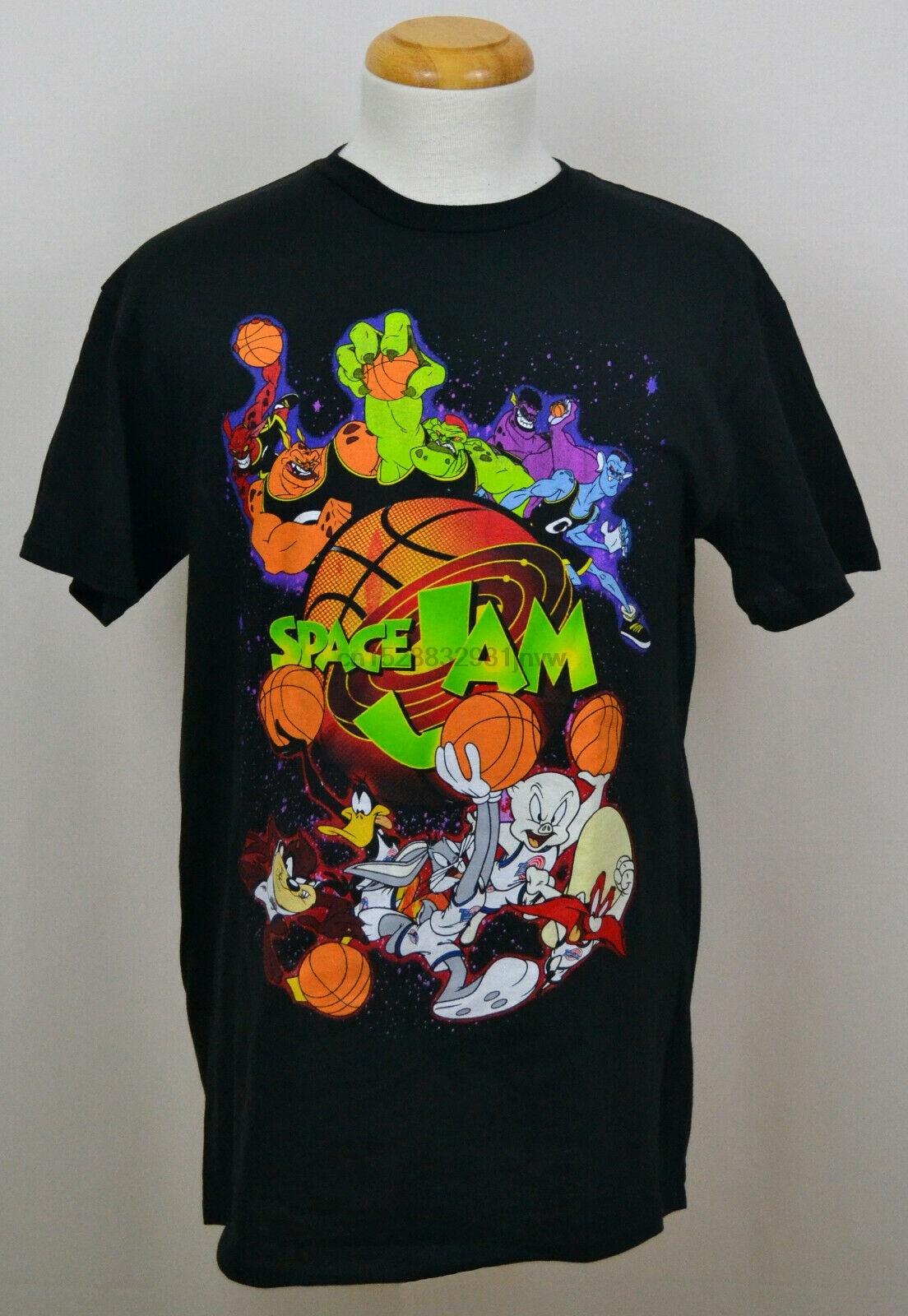 Looney Tunes Space Jam T shirt Tunes vs Monstars Graphic Tee Cotton Black  NWT|T-Shirts