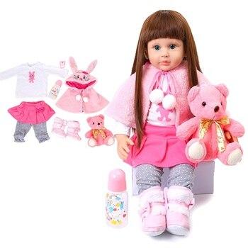 60cm Reborn Baby Doll Girl Toy High Quality Cute Soft Silicone Shawl Pink Bunny Simulation Princess Long Hair Dolls For Children
