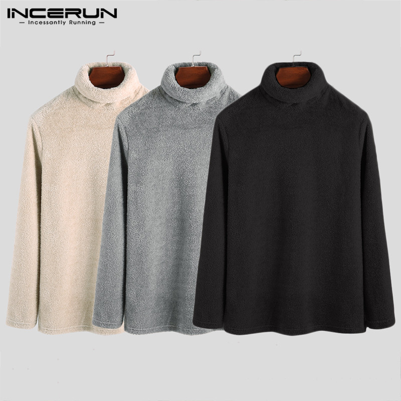 INCERUN Men Home Solid Color Turtleneck Sweater Casual Long Sleeve Warm Tops Men&Women Baggy Sweatshirt Autumn Winter 2019