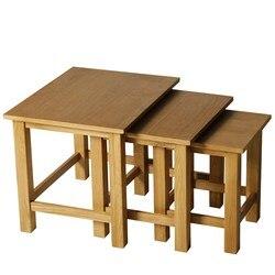 Juego HOMCOM de 3 mesas apilables entrelazadas de madera para sala de estar o sala de estar