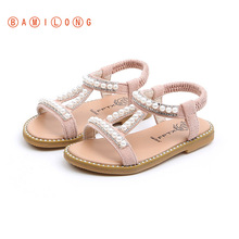 Rhinestones Sandals Party-Shoes Beaded-Leather Girl Kids Fashion Pink for B85 BAMILONG