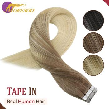 цена на Moresoo Tape Extensions Human Hair Remy Machine 12-24 Inch Skin Weft Straight Brazilian Hair Natural Hair Extensions