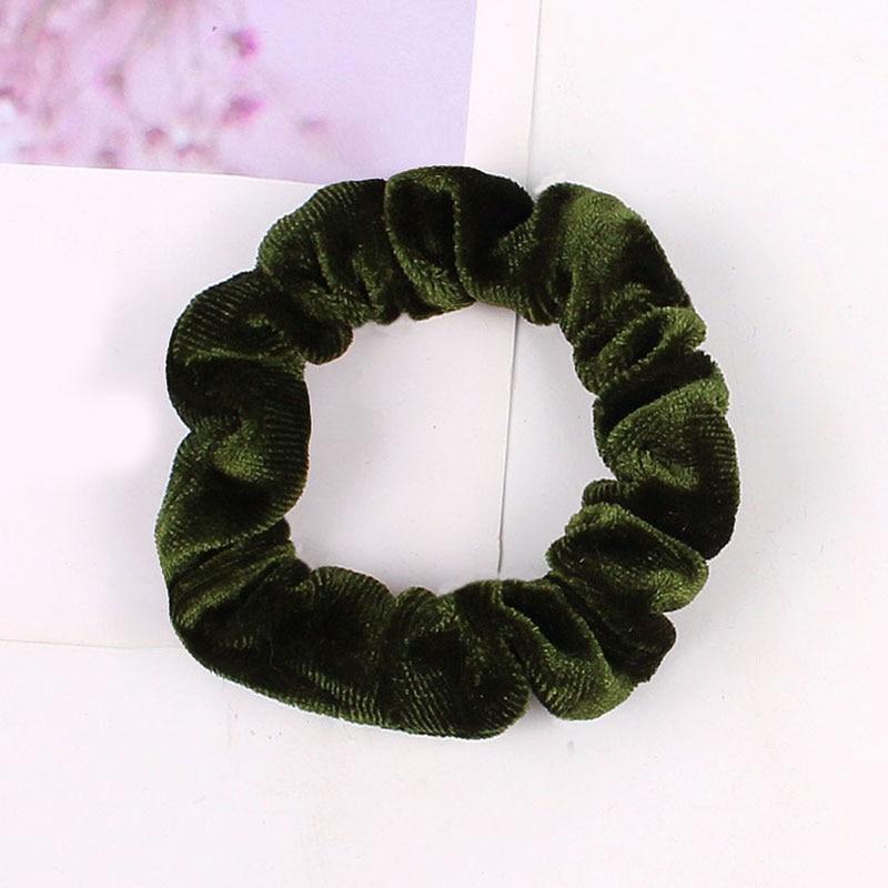 1 шт., женское эластичное кольцо для волос, зимние мягкие бархатные резинки, резинки для волос, милые одноцветные аксессуары для волос, держатель для конского хвоста - Цвет: Velvet-18