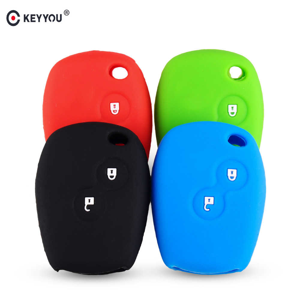 KEYYOU Silicone Car Key Cover Case 3 Buttons for Renault Clio Scenic Megane Duster Sandero Captur Twingo Modus DACIA 3 Logan