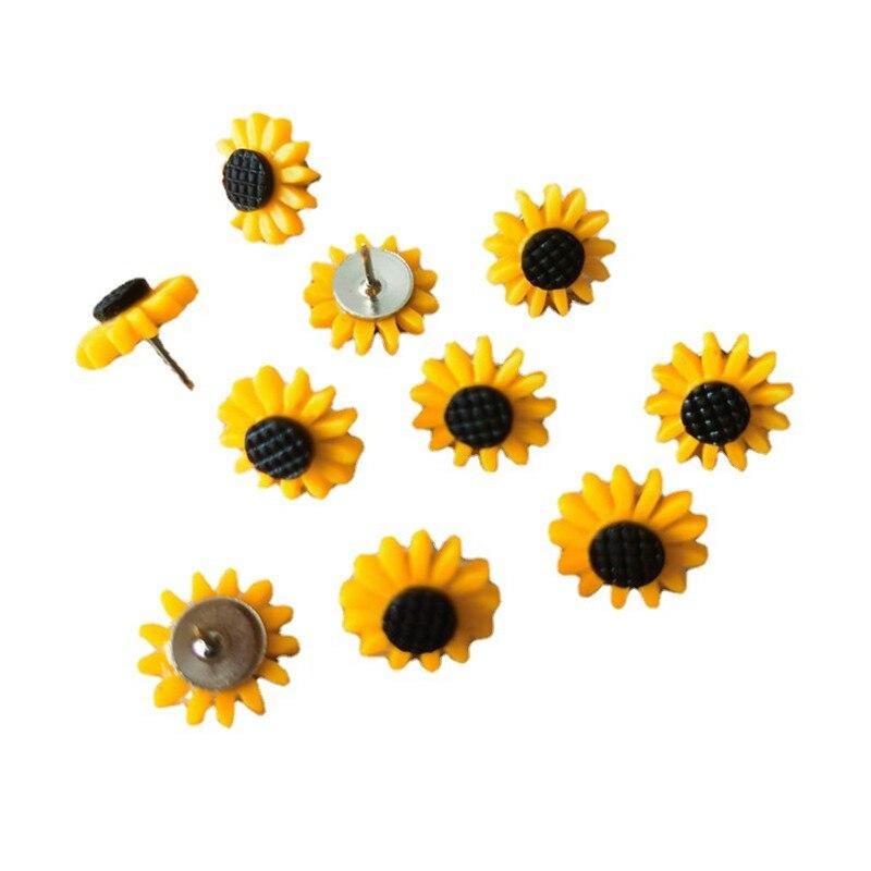 30pcs Thumbtack Sunflower Shape Push Pins Decoration Tack Board Bulletin Board Pins PushPin Drawing Office Binding Supplies