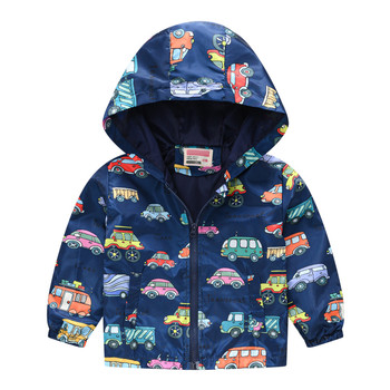 Autumn Jacket For Kids Toddler Kids Baby Girls Boys Long Sleeve Cartoon Print Zipper Hooded Coat Jaqueta Couro 2020 New Clothes image