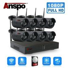 Anspo preto sistema de câmera segurança sem fio 8ch hd 1080 p cctv kit wifi nvr ao ar livre com hdd