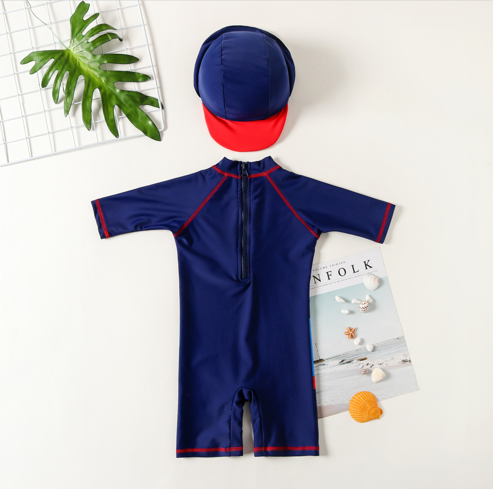 Export One-piece Swimsuit For Children Baby Infant BOY'S Handsome Beach Sun-resistant Surf Wear Seaside Hot Springs