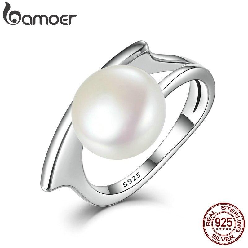 BAMOER nouvelle Collection authentique 100% 925 argent Sterling perle de culture d'eau douce anneaux pour femmes bijoux de mariage SCR034