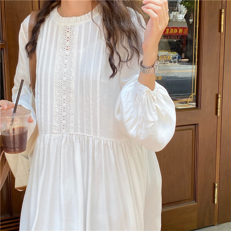 Hb98221d74f1b46cd94de130310b0cea9Q - Autumn O-Neck Lantern Sleeves Loose Lace Solid Dress