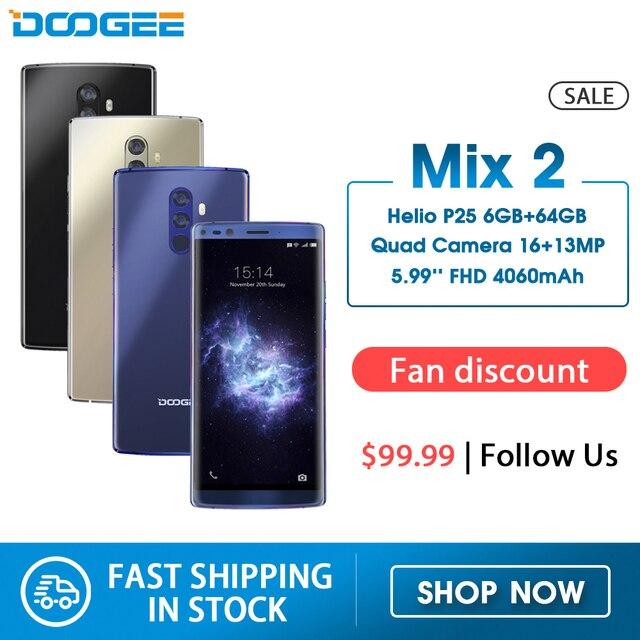 DOOGEE Mix 2 6GB RAM 64GB ROM Helio P25 ثماني النواة 5.99 FHD + الهاتف الذكي كاميرا رباعية 16.0 + 13.0 ميجابكسل 8.0 + 8.0 ميجابكسل أندرويد 7.1 4060mAh