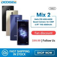 Doogee mix 2 6gb ram 64gb rom helio p25 octa núcleo 5.99 fffhd + smartphone quad camera 16.0 + 13.0mp 8.0 + 8.0mp android 7.1 4060mah