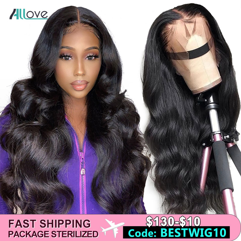 Allove 360 Lace Front Human Hair Wigs Body Wave Lace Front Wig Pre Plucked With Baby Hair Preuvian Lace Front Wigs For Women