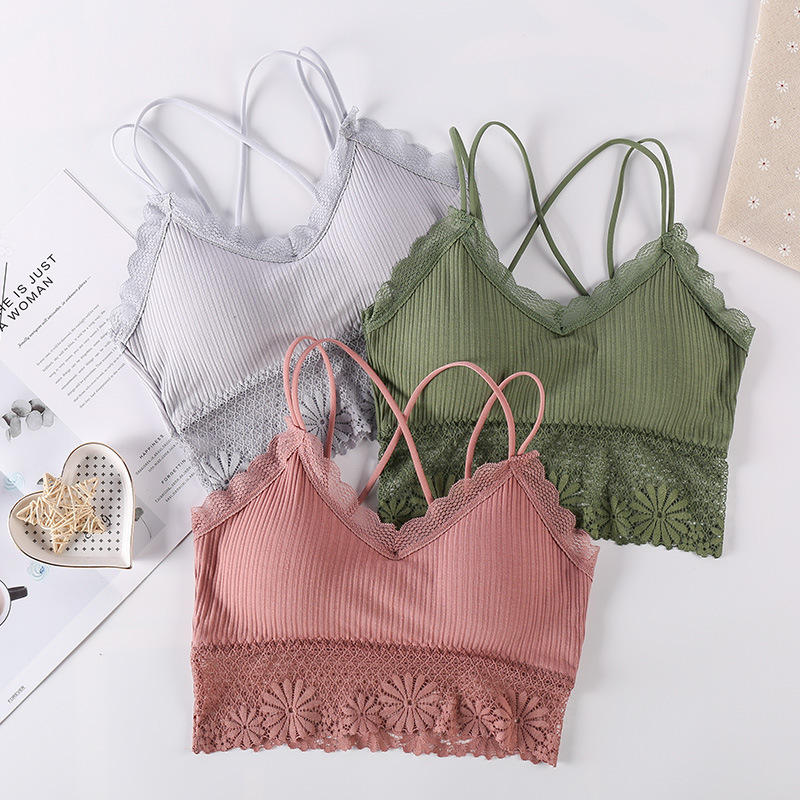 Girls Bra Support Cotton Women Laces Sports Bra Top Women Gym Fitness Seamless Push Up Yoga Bra Padded Sports Top Active Wear