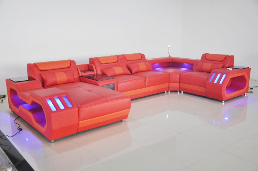 Hb98254c4ff1c4adbbf5d616d40cdd340l Custom made modern design LED lights Music player living room sofa set leather sofa