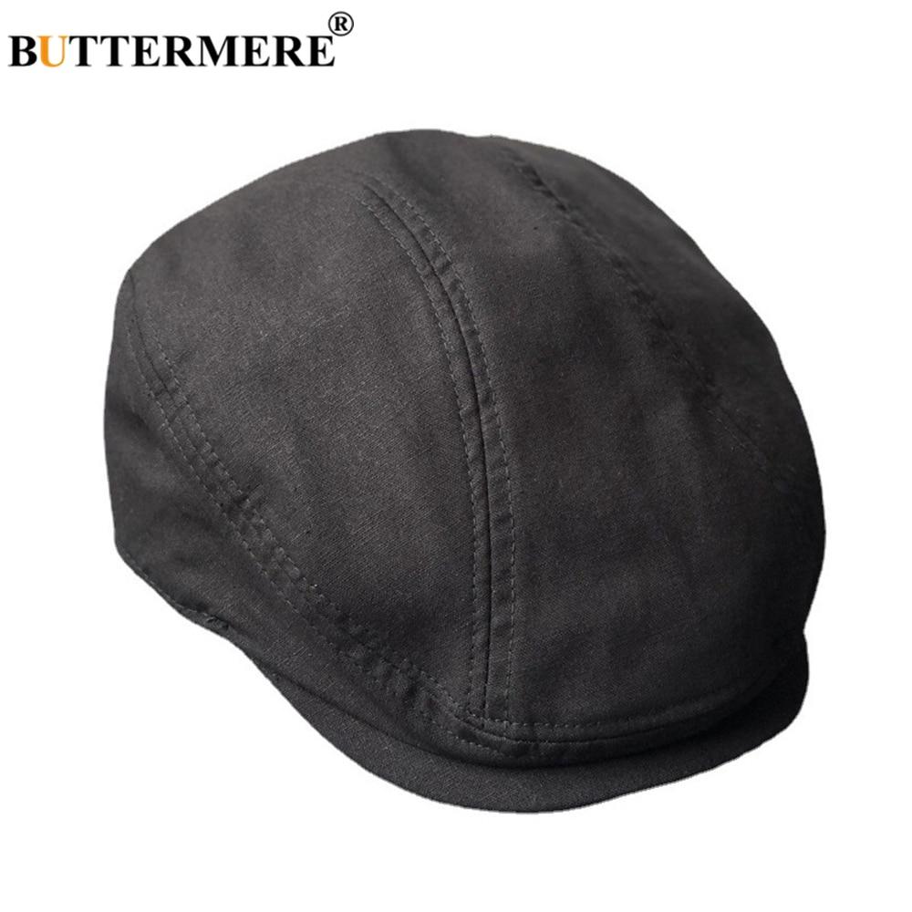 BUTTERMERE Big Large Cotton Linen Flat Cap Summer breathable Men Driver Hat Solid Black Newsboy Caps 58-60cm