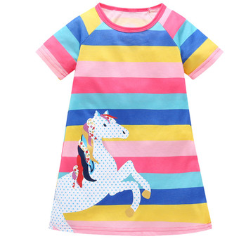 #50 Toddler Kids Baby Girls Animal Princess Rainbow Striped Dress Casual Outfits Girls Costume Party Princess Детские Платья image
