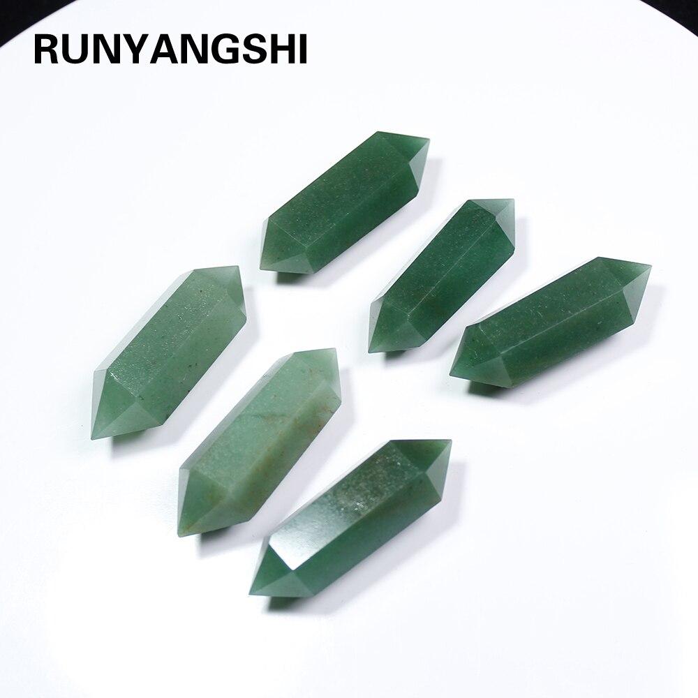 Runyangshi 1pc Natural green Crystal 50MM 100% Aventurine Quartz Crystal Stone Point Healing Hexagonal Wand Treatment Stone