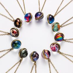 Vintage Galaxy Double Sided Pendant Necklace Glow in the Dark Universe Planet Jewelry Glass Art Picture Necklace for Women Men