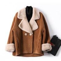 Real Fur Sheepskin Coats Women Winter Sheep Fur Jacket New Fashion Sheep Shearing Parka Wool Blends Overcoat Ladies Outwear