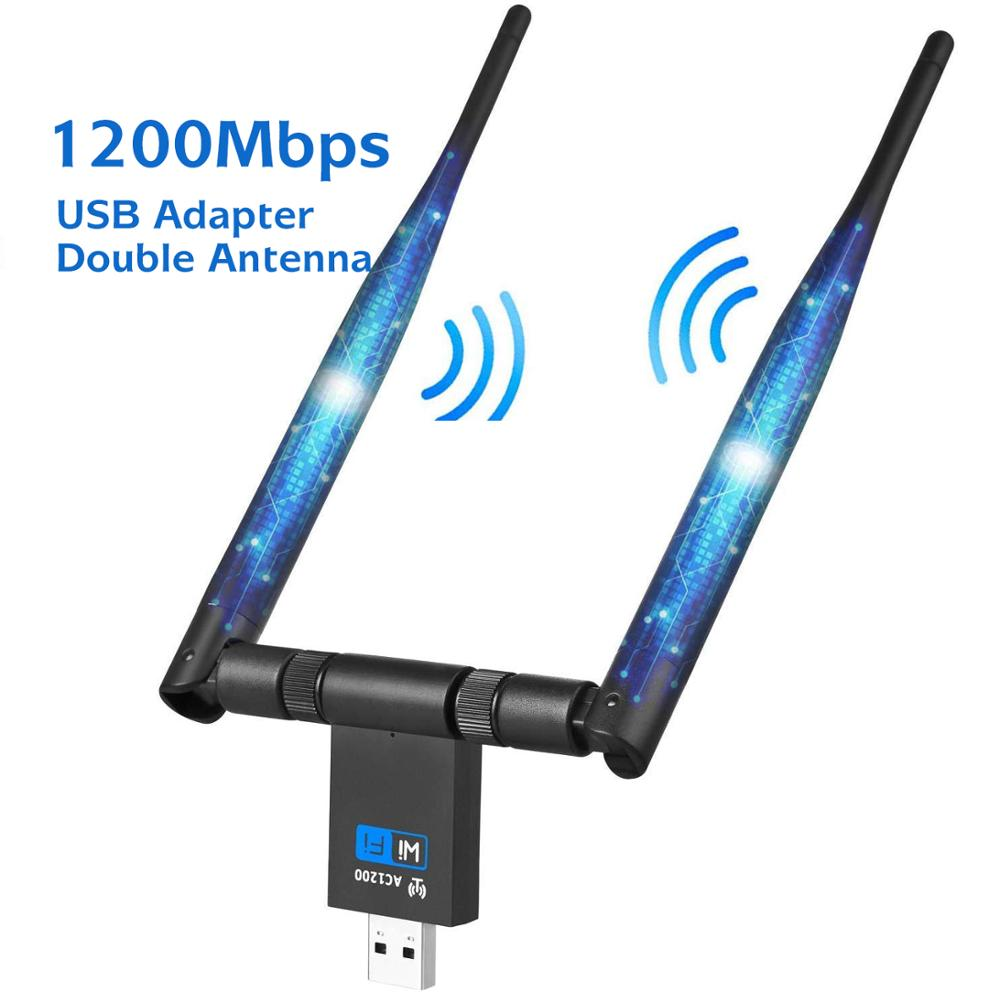 1200Mbps WIFI USB Adapter Dual Antenna USB 3.0 Network Card 5Ghz Wireless Adapter For Laptop Win 7/8/10 Linx2 MAC OS Vista